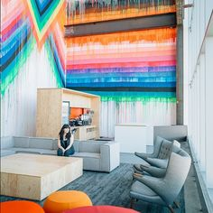 Facebook's Massive, Frank Gehry-Designed Campus Is INSANE #refinery29  http://www.refinery29.com/2015/03/84738/facebook-office-tour#slide-9  We certainly wouldn't mind hanging in this colorful lobby.