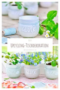 Upcycling Tischdeko How to make a nice table decoration with empty jam jars. Or just give away with a small plant for Mother's Day and all other occasions. This upcycling idea can be found at mrsgreenhouse. Diy Garden Projects, Projects For Kids, Garden Ideas, Decoration Chic, Recycling Containers, Container Gardening, Diy Greenhouse, Upcycled Home Decor, Small Plants