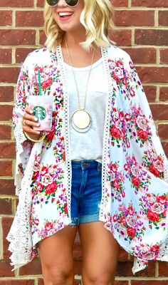 #summer #outfits White Floral Poncho + White Tee + Ripped Denim Short