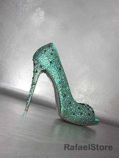 Damen Schuhe Pumps GIANMARCO LORENZI Black Label Satin Grün Smaragd Edelsteine