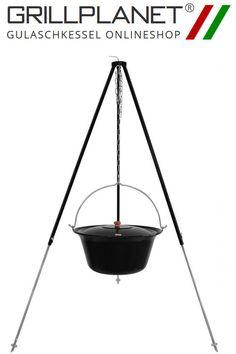 dreibein mit gulaschkessel set gulaschtopf emailliert 22 liter mit einem 180 cm hohen dreibein. Black Bedroom Furniture Sets. Home Design Ideas