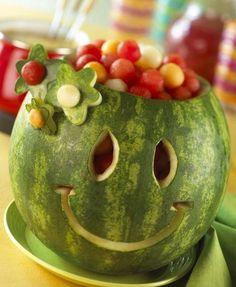 Watermelon smiley fruit holder image via Celebrating Life on Facebook at www.facebook.com/CelebratingLifeNow