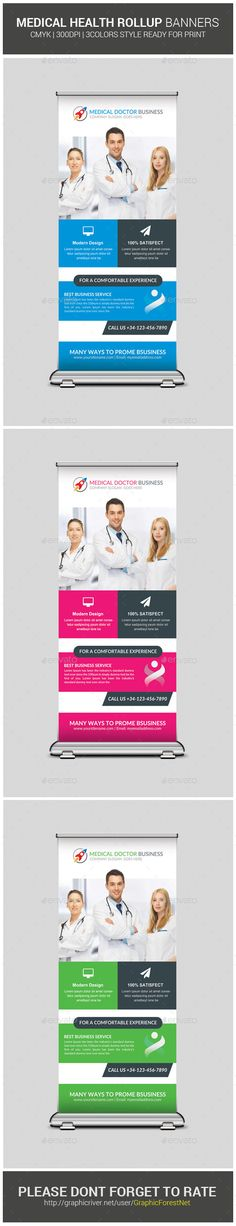 Medical Health Rollup Banners Template #design Download: http://graphicriver.net/item/medical-health-rollup-banners/10538161?ref=ksioks
