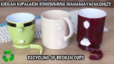 KIRIK KUPALARIN VE FİNCANLARIN İNANILMAZ GERİ DÖNÜŞÜMÜ // HOW TO REUSE B... Diy Crafts For Home Decor, Creative Arts And Crafts, Diy Crafts Hacks, Easy Diy Crafts, Recycled Crafts, Fun Crafts, Diy Para A Casa, Diy Glasses, Recycling