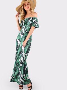 8b580c0499 Cute Summer Green Palm Print Flounce Off Shoulder High Slit Maxi Dress New  2017