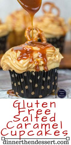 Gluten Free Salted Caramel Cupcakes come together to form a sweet, buttery treat. Light, fluffy, and full of flavor. They're gluten free! Gluten Free Deserts, Gluten Free Sweets, Gluten Free Baking, Gluten Free Recipes, Fun Recipes, Sugar Free Cupcakes, Gluten Free Cupcakes, Cupcake Cakes, Deserts