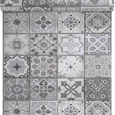 Papier peint vinyle sur intissé Carreau de ciment gris mat - CASTORAMA