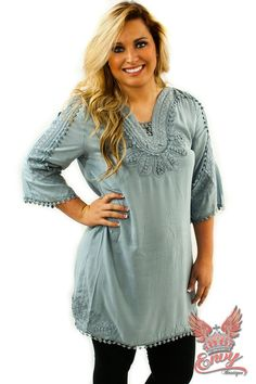 Girl of the Sea Tunic  - We absolutely adore this beautiful seafoam tunic. This tunic features gorgeous intricate crochet detailing and quarter length sleeves. Its lightweight material makes it perfect for the autumn weather while its versatile length enables it to be worn as a tunic top or dress. Perfect for pairing with leggings and boots!  | available at http://www.envyboutique.us/shop/girl-sea-tunic/ |  #Envy #Boutique #fashion #fashiontrends
