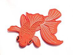 Japanese Koi / Fish Tattoo / Iron-on Patches / Orange Koi Fish / Tattoo Appliqué / Embroidery / DIY Denim Jacket