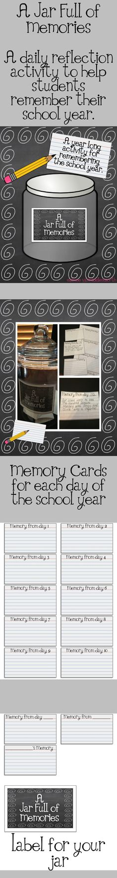 A Jar Full of Memories: might be fun to make a notebook for each student.