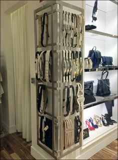 Bcbg belts cornered display – fixtures close up Visual Display, Display Design, Store Design, Display Ideas, Belt Display, Store Layout, Store Window Displays, Store Fixtures, Dressing