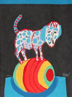 By Karel Appel (1921-2006), 1978, The Circus Suite, Il répète pour nous from Portfolio III, Woodcut with Embossing. #Dog