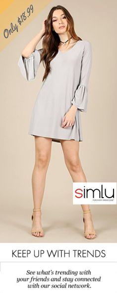 Simlu Womens Long Bell Sleeve Short Shift Dress - Made In USA  #simlu #clothing #bellsleeve #dress #spring