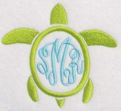 Turtle Monogram Frame | Apex Embroidery Designs, Monogram Fonts & Alphabets
