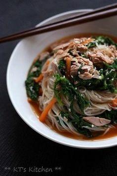 春菊とツナの韓国風そうめん|レシピブログ - Korean inspired spicy somen noodles with tuna and shungiku (Edible chrysanthemum) - recipe in Japanese