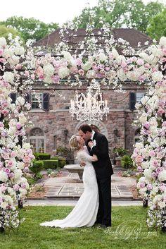 well designed floral arrangements wedding arch /  http://www.himisspuff.com/wedding-flower-decor-ideas/2/