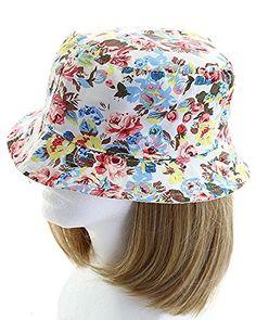 Ladies Bucket Sun Hat Sunhat Cotton Mix White Leaf Print Pink Green Reversible