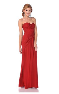 Red Gathered Draping Chiffon Strapless Sweetheart Prom Gown