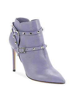 Blue Ankle Boots, Grey Boots, Ankle Booties, Valentino Boots, Valentino Rockstud, Studded Boots, Studded Leather, Grey Leather, Estilo Fashion