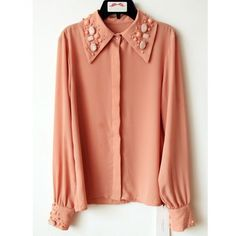 Pink long sleeve button down shirt ($69) ❤ liked on Polyvore
