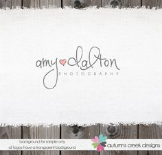 Custom Premade Photography Logo - Name Heart Logo and Watermark Design Name Text Logo. $30.00, via Etsy.