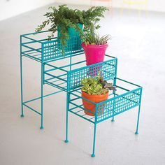 This bold and fun Three Tiered Slide-Out Planter in turquoise is a new Sun & Moon Home favorite! Showcase your green thumb in a fun and funky way. The turquoise is a sure compliment to your favorite ferns or succulents inside your home or out on your patio. For a functional addition, we have included a slide-out feature to tuck away your lower planters when not in use or for a fun storage option. Brighten up your space with this lively planter!