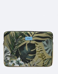 funda-portátil-verde-hojas- Tablets, Unisex, Zip Around Wallet, Tropical, Laptop Sleeves, Green Leaves