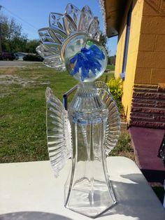Regal glass garden art angel.