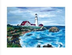 Bob Dylan Lighthouse in Maine, 2017 Giclee print on paper. Signed by Bob Dylan, in margin lower right, numbered in margin lower left. Certificate Of Authenticity. Paper size 30 x 23 in x cm Edition of 295 Bob Dylan Art, American Songs, Nobel Prize In Literature, Legendary Singers, New Art, Giclee Print, Maine, Castle, Artwork