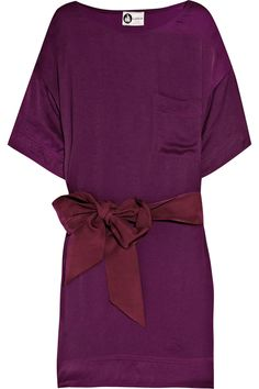 Lanvin Grape polyester satin shift dress with red grosgrain sash