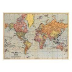 24 x 36 vintage world map poster garretts room pinterest stans vintage world map poster print and hanger kit gumiabroncs Images
