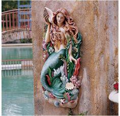 "29"" Undersea Mystical Mermaid Siren of the Sea Shells Beach Home Wall Sculpture"