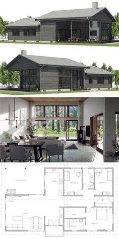 Architecture, Home Plans, House Plans, Floor Plans House Designs Dream House Plans, Modern House Plans, Small House Plans, House Floor Plans, Shed House Plans, Modern Farmhouse Design, Modern House Design, Home Design Floor Plans, House Blueprints