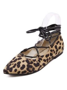 Shop Leopard Print Ankle Lace Up Pointed Ballet Flats from choies.com .Free shipping Worldwide.$37.99