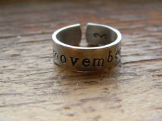 MOVEMBER moustache aluminum cuff style ring 1/4 by LindaMunequita, $10.00