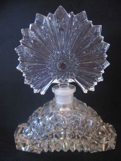 Vintage Pressed Glass Clear Perfume Bottle