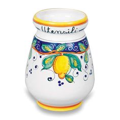Arte D'Italia Imports Hand Painted Alcantara Utensil Holder – Handmade in Italy – Handmade Accessories Canister Sets, Canisters, Italian Pottery, Utensil Holder, Handmade Accessories, Hand Painted, Italy, Ceramics, Kitchen Utensils