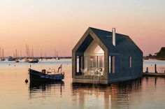 "Two-Story Houseboat for Long Latvian Summers by Latvian architecture firm NRJA (which stands for ""No Rules, Just Architecture"")"