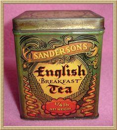 Vintage Sandersons English Breakfast Tea Tin - 1/4lb from Blisfulf