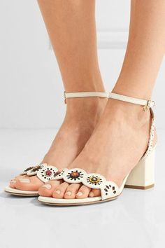 Heel measures approximately 75mm/ 3 inches Off-white leather Buckle-fastening ankle strap Imported