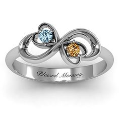 Duo of Hearts and Stones Infinity Ring | Jewlr