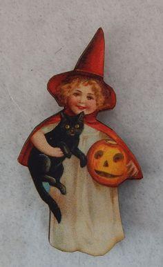 Vintage Style Witch & Black Cat Brooch or Scarf Pin Jewelry Wood Multi-Color #Handmade http://www.ebay.com/itm/151838309518?ssPageName=STRK:MESELX:IT&_trksid=p3984.m1555.l2649