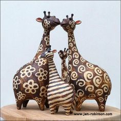 Stripes and all! by Hippopottermiss on DeviantArt - Stripes and all! by *Hippopottermiss on deviantART (inspiration for paper mache? Paper Mache Clay, Paper Mache Sculpture, Clay Art, Sculpture Art, Sculpture Ideas, Pottery Animals, Ceramic Animals, Clay Animals, Ceramic Pottery