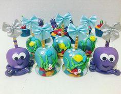 Mermaid Birthday, 3rd Birthday, Birthday Party Themes, Shark Cake Pops, Gourmet Candy Apples, Shark Party, Baby Shark, Caramel Apples, Ideas Para Fiestas