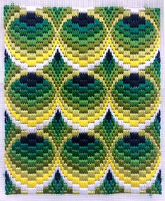 Bargello Needlepoint or Florentine Longstitch Original handmade in Spring 2018 in beautiful fresh lemon & lime colours. Tubes design with 3D effect - taking about 25 hours work to complete and Using DMC Floss Threads Ready for you to incorporate into a soft furnishing such as a