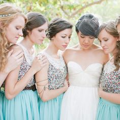 A pretty Malibu nature wedding with bridesmaids wearing lovely teal skirts!