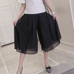Make summer chiffon wide-legged pants pregnant 7 minutes of pants, leisure culottes culottes show thin legs wide divided skirts  #Affiliate