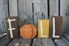 Fall Autumn Pumpkin Wood Block Set . . . F (pumpkin) A L L . . . seasonal home decor primitive. $19.95, via Etsy.