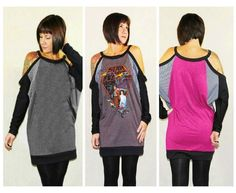DIY Reconstructed Upcycled TShirt Dress  - Dolman Sleeve Dress - One Size XS to XL