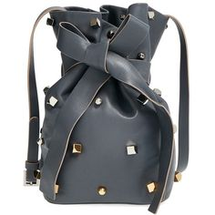 Jimmy Choo 'Eve' Studded Bucket Bag (29.261.250 IDR) ❤ liked on Polyvore featuring bags, handbags, shoulder bags, purses, bolsas, dusk, handbags purses, leather shoulder bag, leather shopper and handbags shoulder bags